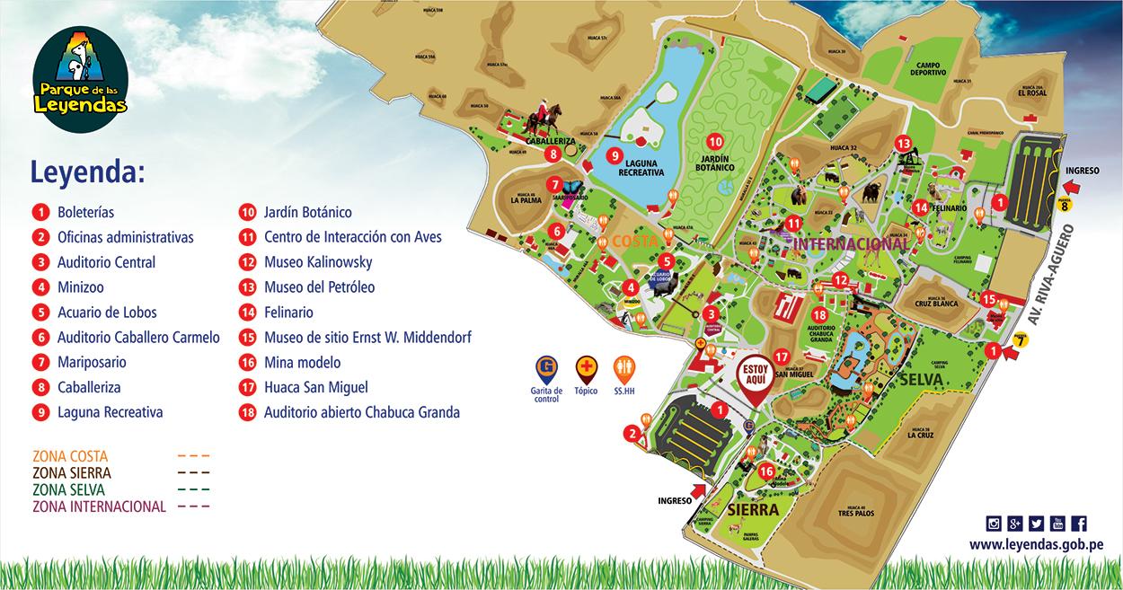 Mapa del Parque de las Leyendas